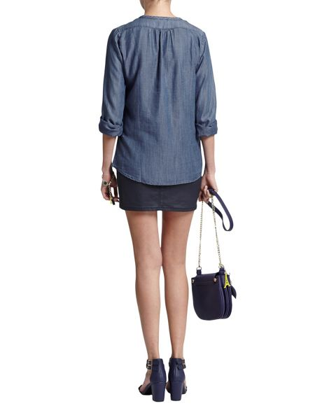 Morgan Denim Ruffle Shirt