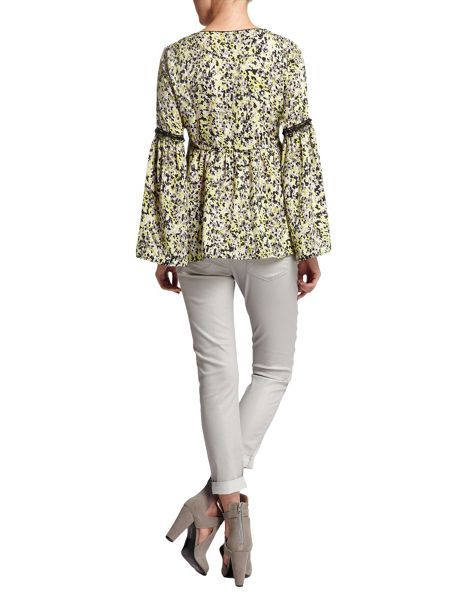 Morgan Patterned Flared-Sleeve Top