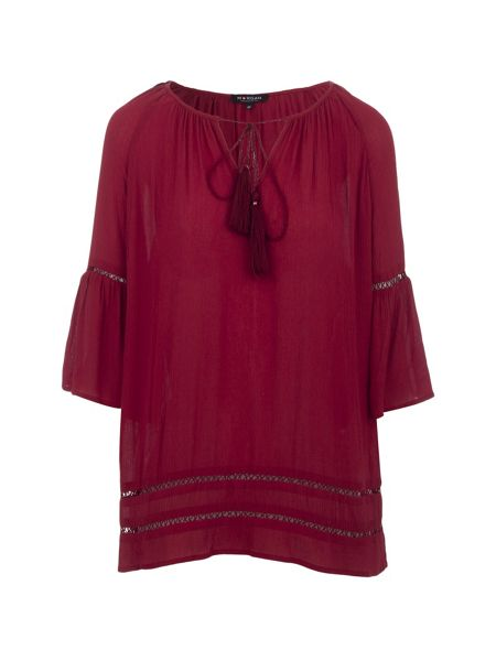 Morgan Pleated Tassel-Detail Top