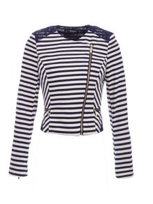Morgan Striped lace-detail jacket