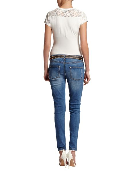 Morgan Slim-Fit Faded-Detail Cotton Jeans