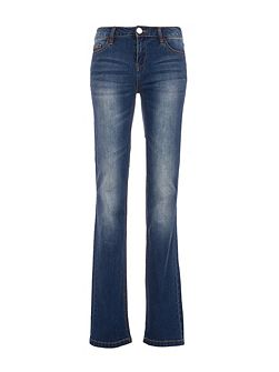 Worn-Look Straight-Cut Cotton Jeans