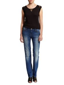 Morgan Worn-Look Straight-Cut Cotton Jeans