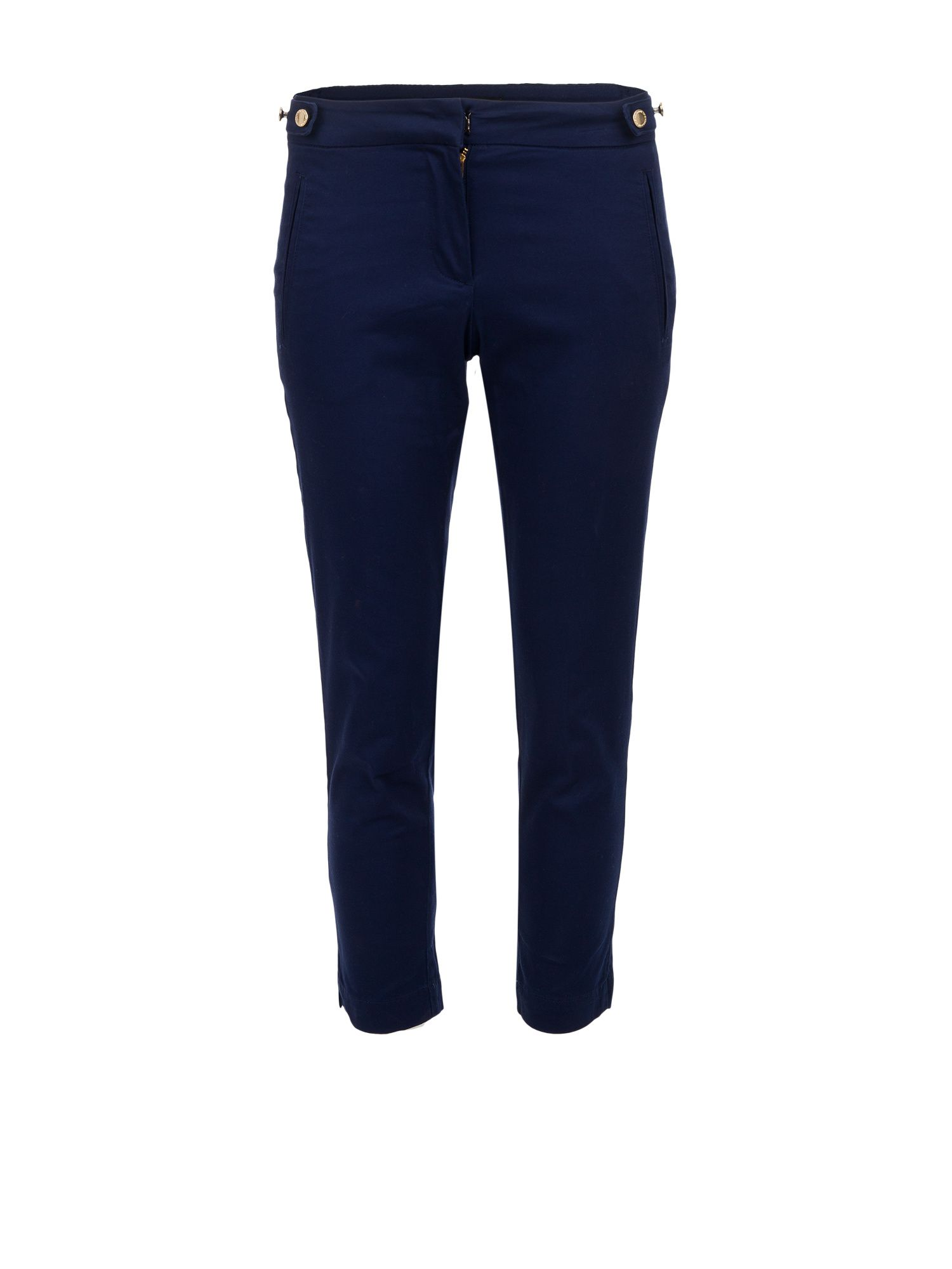 Morgan Cropped Button-detail Cotton Trousers, Navy
