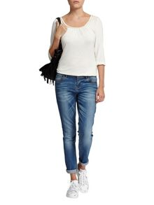 Morgan Cropped Cotton Patterned Jeans