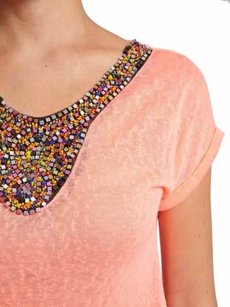 Morgan Beaded Collar-Detail Knitted Top