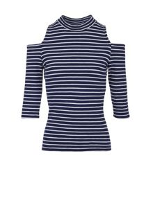 Morgan Striped Open-Shoulder Top
