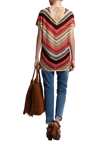 Morgan Short sleeve jumper with diagonal stripe