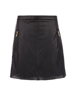 Leather-style skirt with cut out design