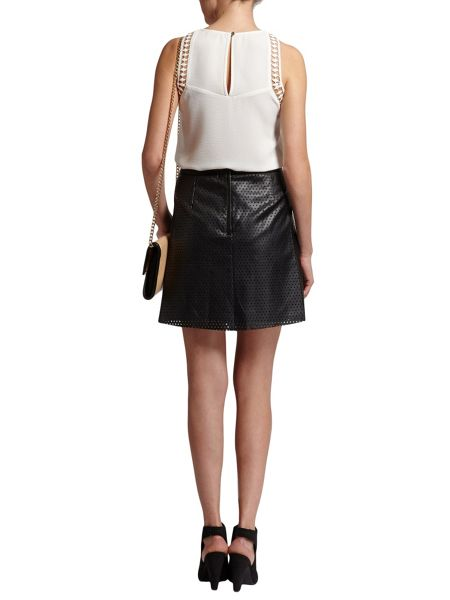 Morgan Leather-style skirt with cut out design