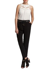 Morgan Loose trousers with leather effect