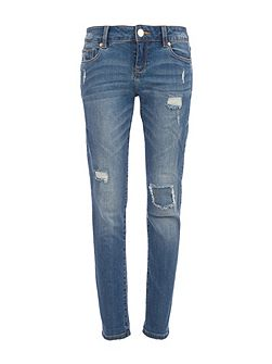 Crop Jeans with Wear and Tear Detail