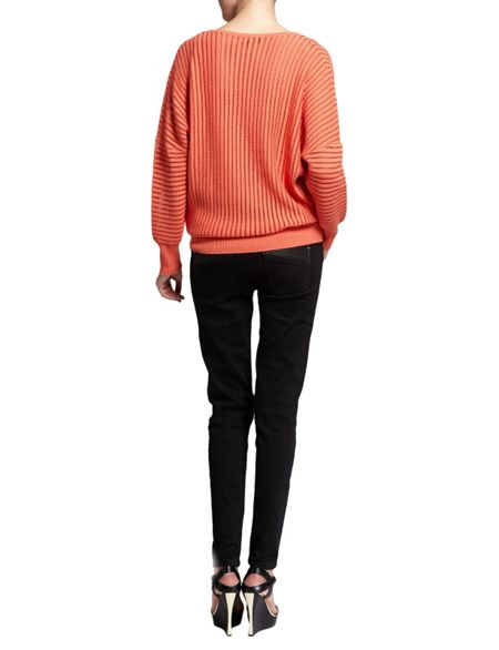 Morgan Ribbed-Effect Cotton Sweater