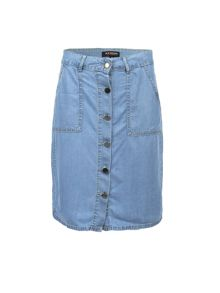 Morgan Buttoned-Front Denim Skirt