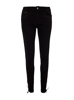 Slim-Fit Leather-Look-Detail Jeans