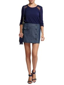 Morgan Button And Pocket-Detail Denim Skirt