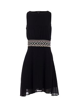 Belted-Waist Shift Dress