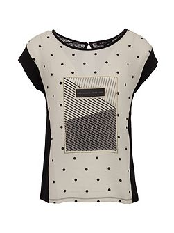 Front-print cotton and modal top