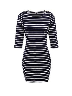 Nautical Bodycon Dress In Stretch Fabric