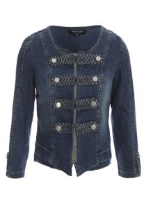 Morgan Cropped Denim Button-Detail Jacket