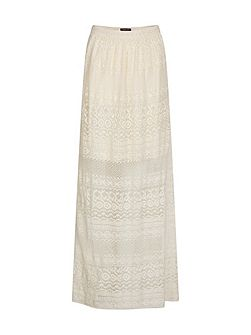 Long Lace Overlay Cotton Skirt