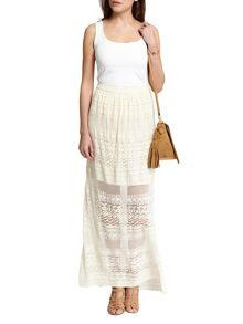 Morgan Long Lace Overlay Cotton Skirt