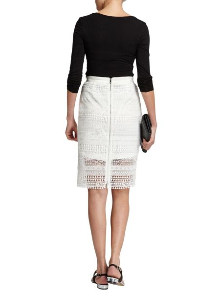 Morgan Patterned Overlay Pencil Skirt