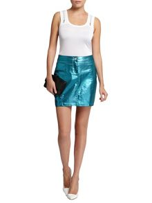 Morgan Metallic Denim Skirt