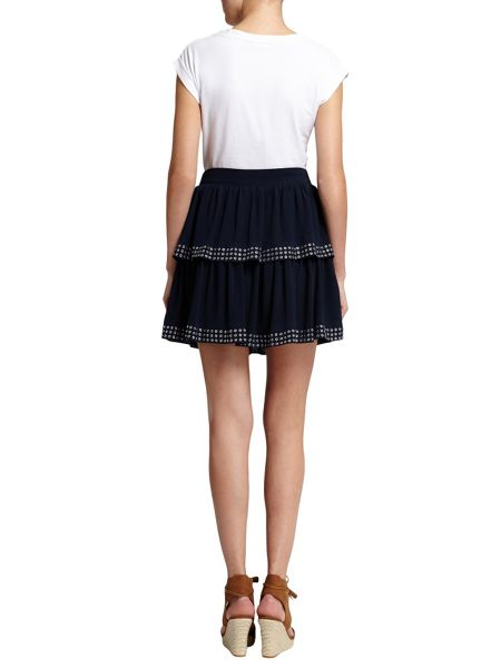 Morgan Tiered Eyelet-Detail Skirt