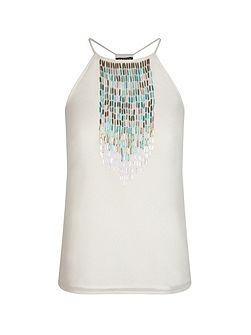 Sleeveless Tank Top With Bead Decoration