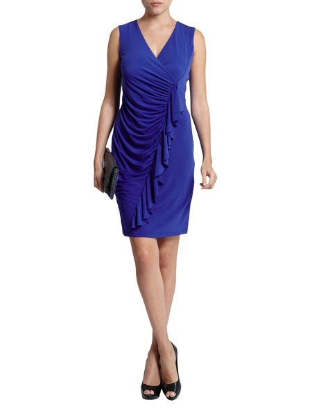 Morgan Ruched Pencil Dress With Frill Trim