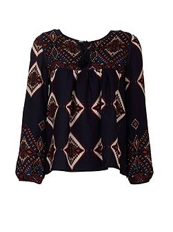 Ethnic-Style Front-Tie Patterned Top