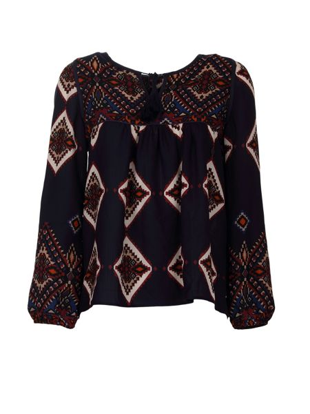 Morgan Ethnic-Style Front-Tie Patterned Top