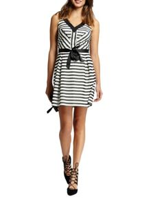 Morgan Striped Ribbon-Tie Dress