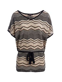 Zigzag Belted Tunic In Fine Knit