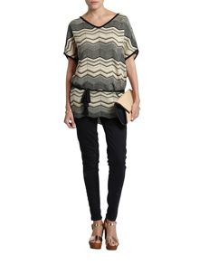Morgan Zigzag Belted Tunic In Fine Knit