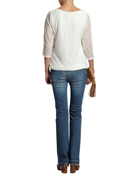 Morgan Textured collar-tie top