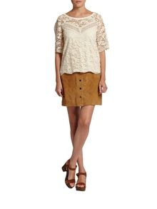 Morgan Patterned-overlay scalloped-edge top