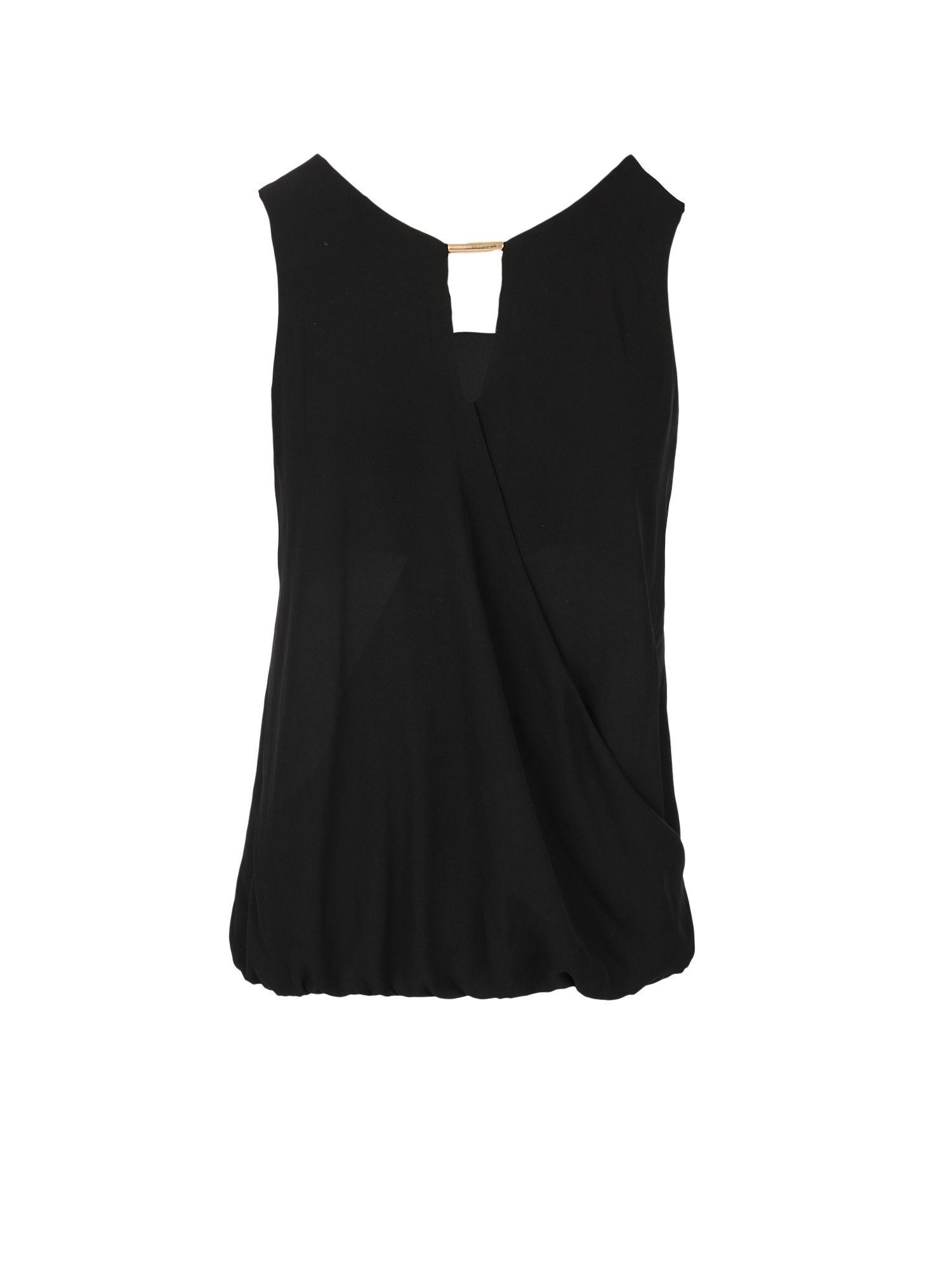 Morgan Longline Wrapover-Front Top, Black
