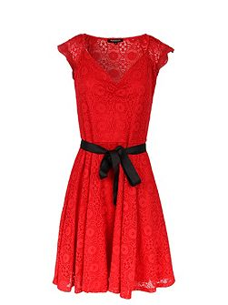 Lace-Detail Flared Dress