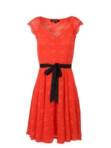 Morgan Lace-Detail Flared Dress