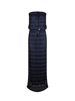 Glittery-Knit Patterned Maxi Dress