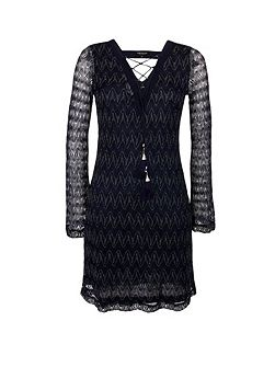 Patterned Flared-Sleeve Dress