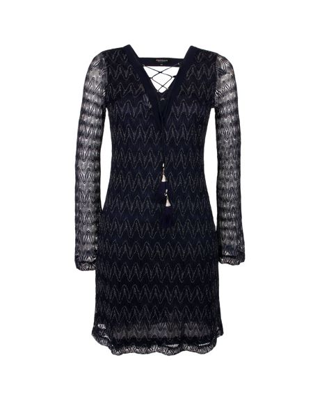 Morgan Patterned Flared-Sleeve Dress