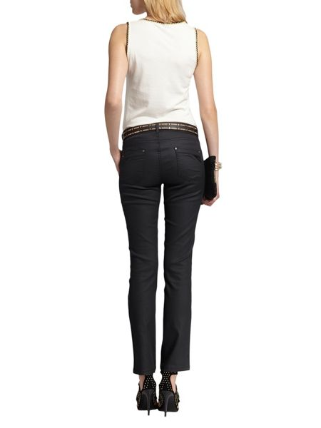 Morgan Slim-fit coated-look jeans