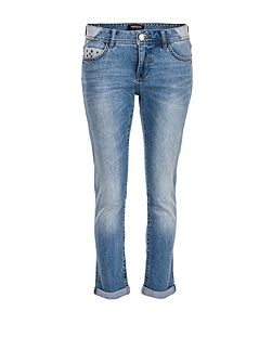 Slim-fit cropped eyelet-detail jeans