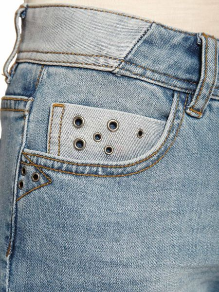 Morgan Slim-fit cropped eyelet-detail jeans