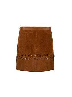Leather-look laced-detail skirt