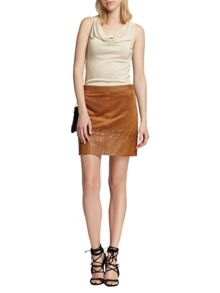 Morgan Leather-look laced-detail skirt