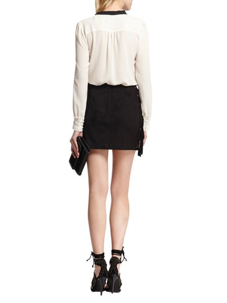 Morgan Front-tie suede-look skirt